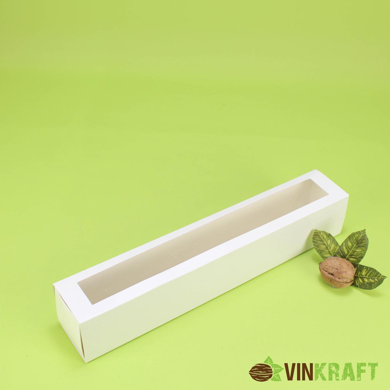 Коробка 300*50*53 для макарун з вікном (12 шт), біла