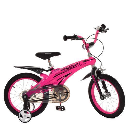 Малиновый велосипед для девочки PROF1 LMG16126 с звонком и дополнительными колесами