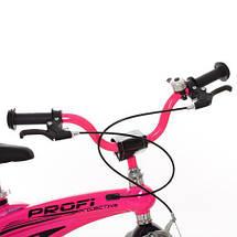 Малиновый велосипед для девочки PROF1 LMG16126 с звонком и дополнительными колесами, фото 2