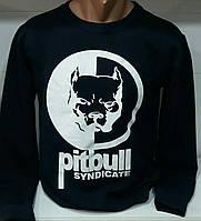 """Свитшот спортивный мужской тонкий""""Pitbull"""" размеры44-50, черного цвета"""