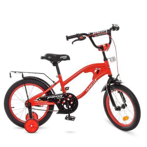"""Детский велосипед красный двухколесный PROF1 Y16181 16"""" TRAVELER"""