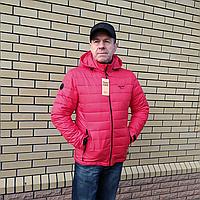 Стильная куртка мужская демисезонная красного цвета