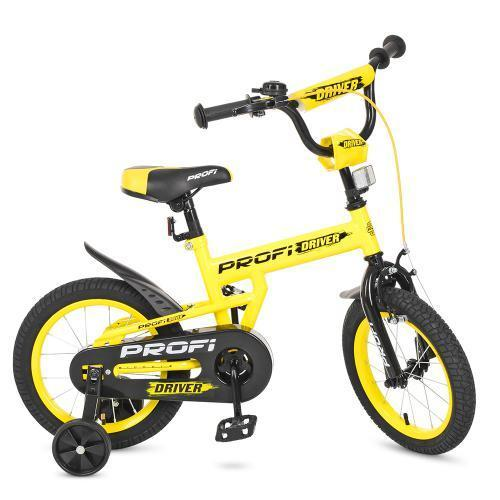 Желтый детский велосипед PROF1 14Д L14111 Driver 2-х колесный