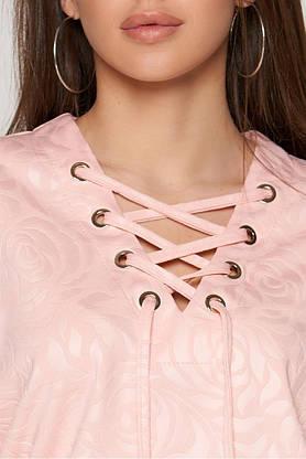 Красивая женская кофточка трикотажная цвета пудра, фото 3