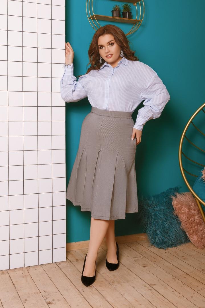"""Офисная женская миди-юбка """"Trenton"""" со складками и карманами (большие размеры)"""