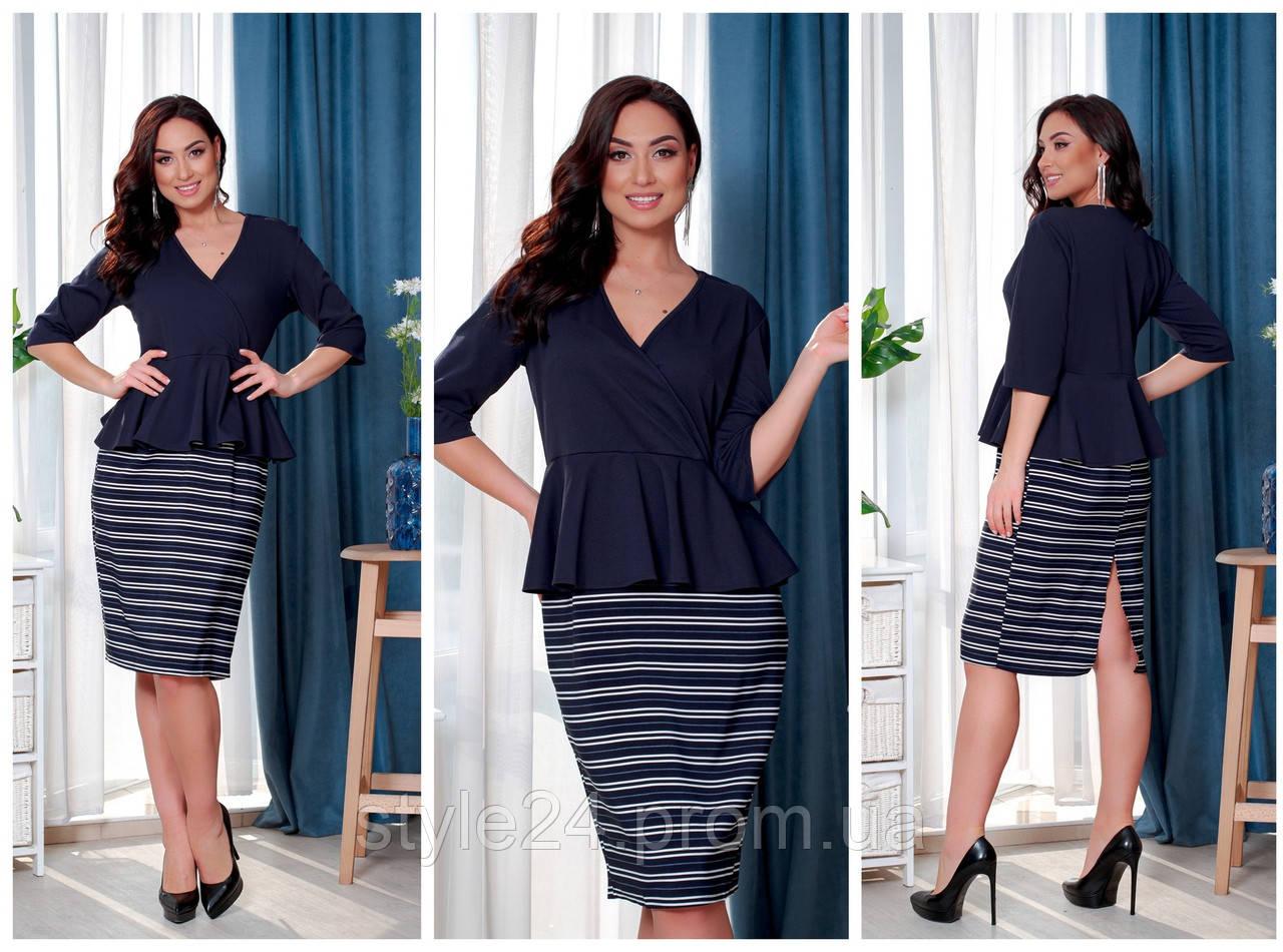 Батальне  плаття з полосатою юбкою , 3 кольори.Р-ри 46-60