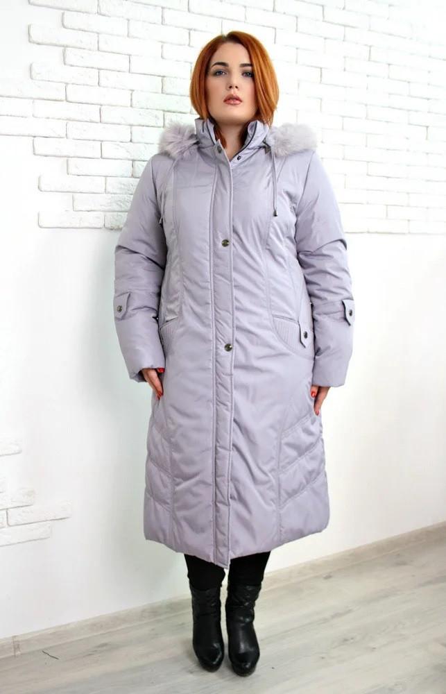 Пальто зимнее евро Анжелика светло-серый