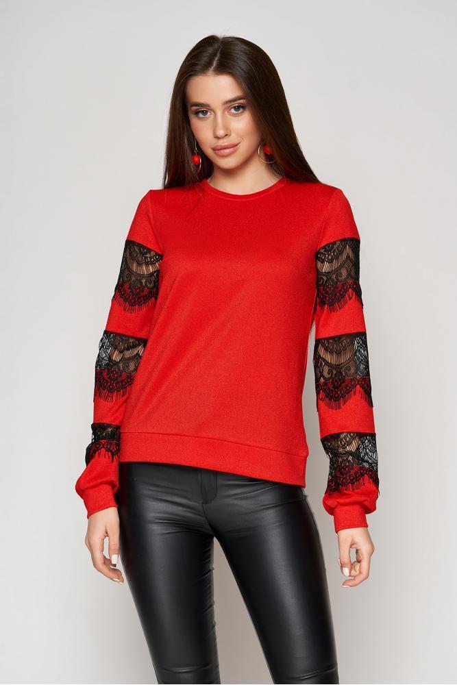 Нарядная женская кофта с гипюром красная