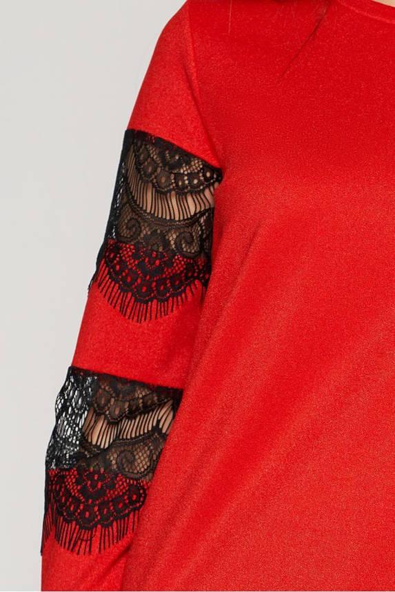 Нарядная женская кофта с гипюром красная, фото 2