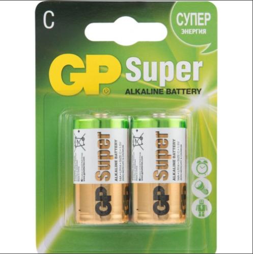 Батарейки GP 14A - U2 Alkaine LR14, C, (блистер 2шт)