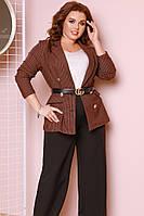 """Деловой женский брючный костюм """"Delaware"""" с пиджаком в клетку (большие размеры)"""