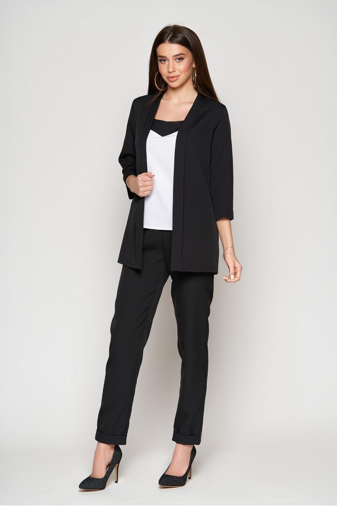 Чёрный брючный костюм тройка женский  повседневный деловой