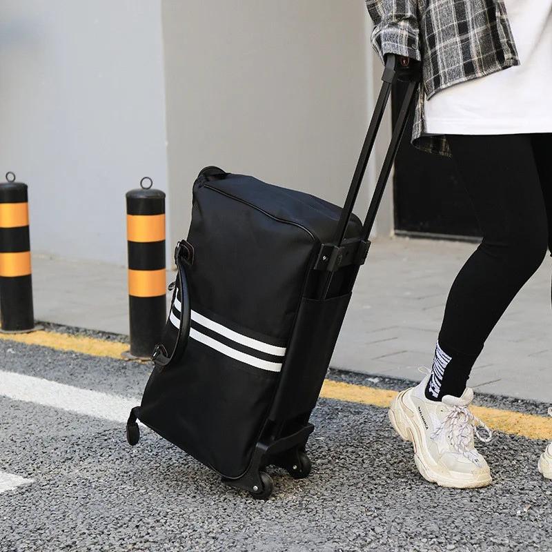 Дорожная сумка на колесах с ручкой черная (1119931257)
