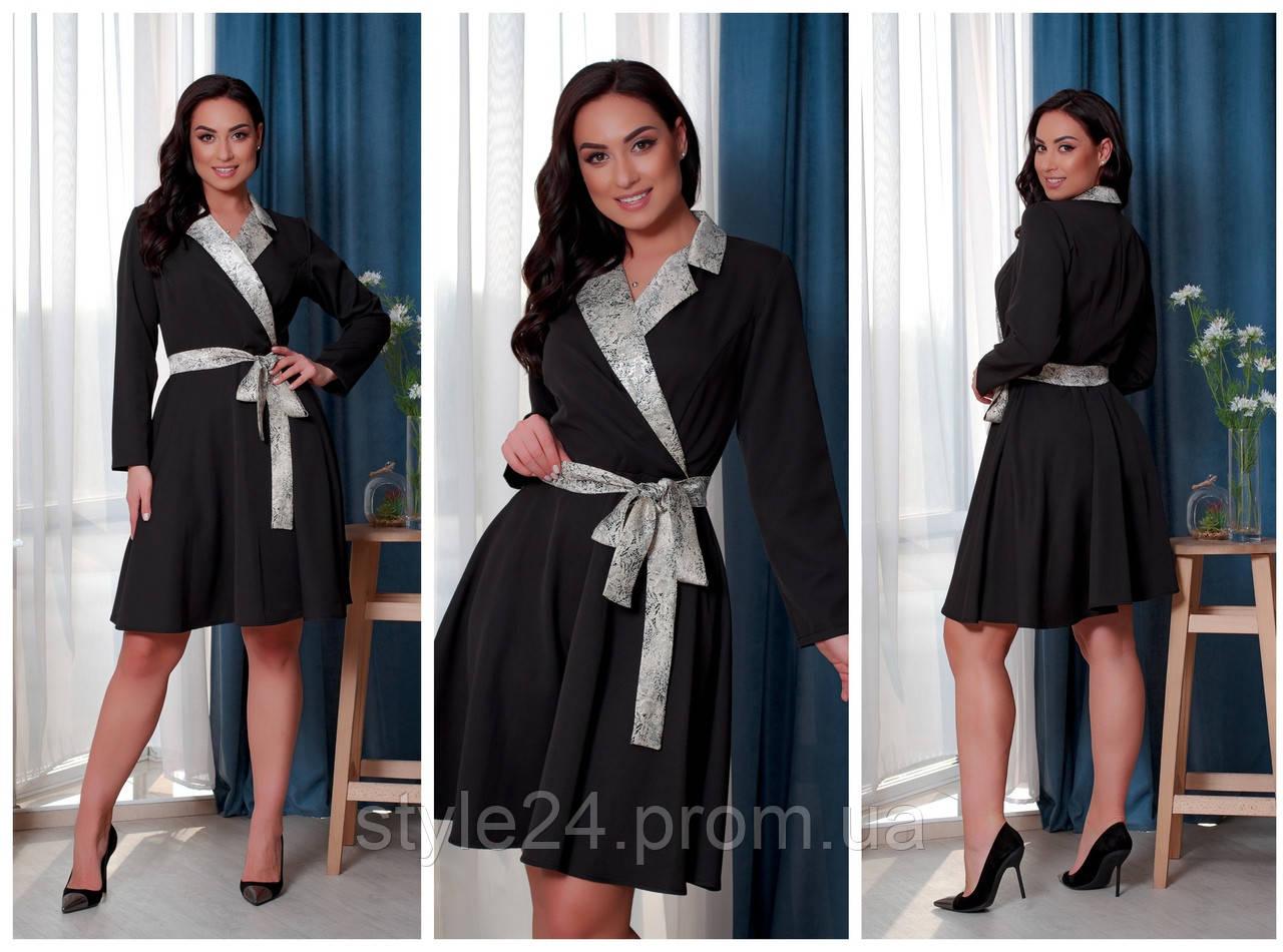 Батальне  плаття з вставками та поясом, 5 кольорів.Р-ри 46-60