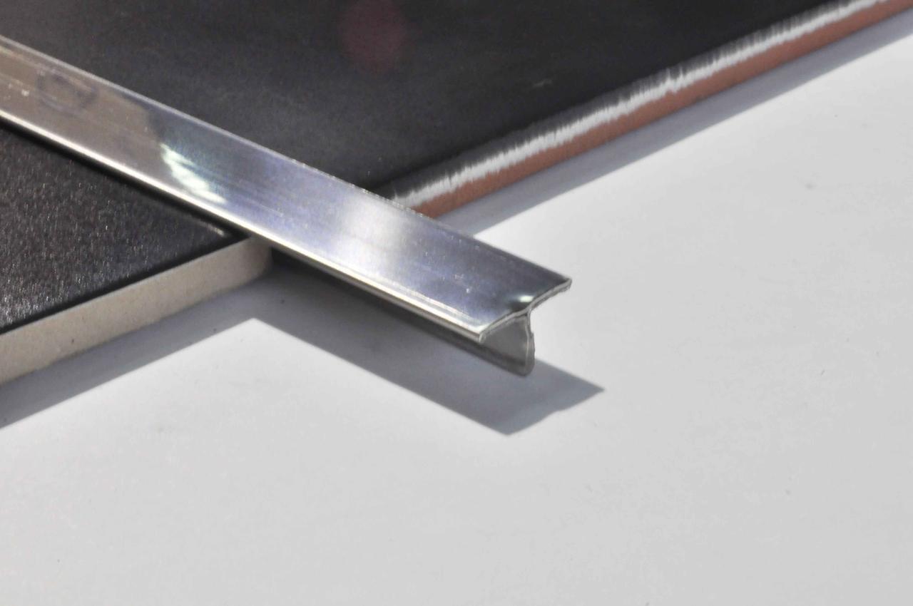 Т-подібний профіль для підлоги Pawotex 14 мм 2.5 м полірована нержавіюча сталь STT14