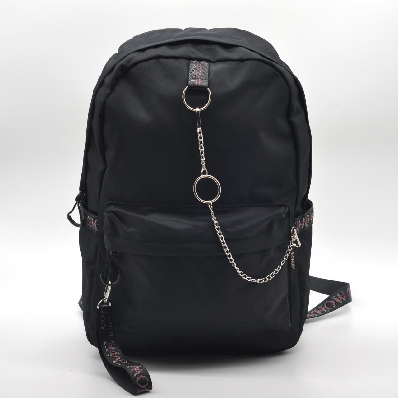 Рюкзак міський Winner чорний з ланцюжком