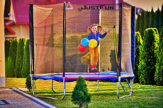 Батут Just Fun 312 см с сеткой и лестницей синий, фото 3