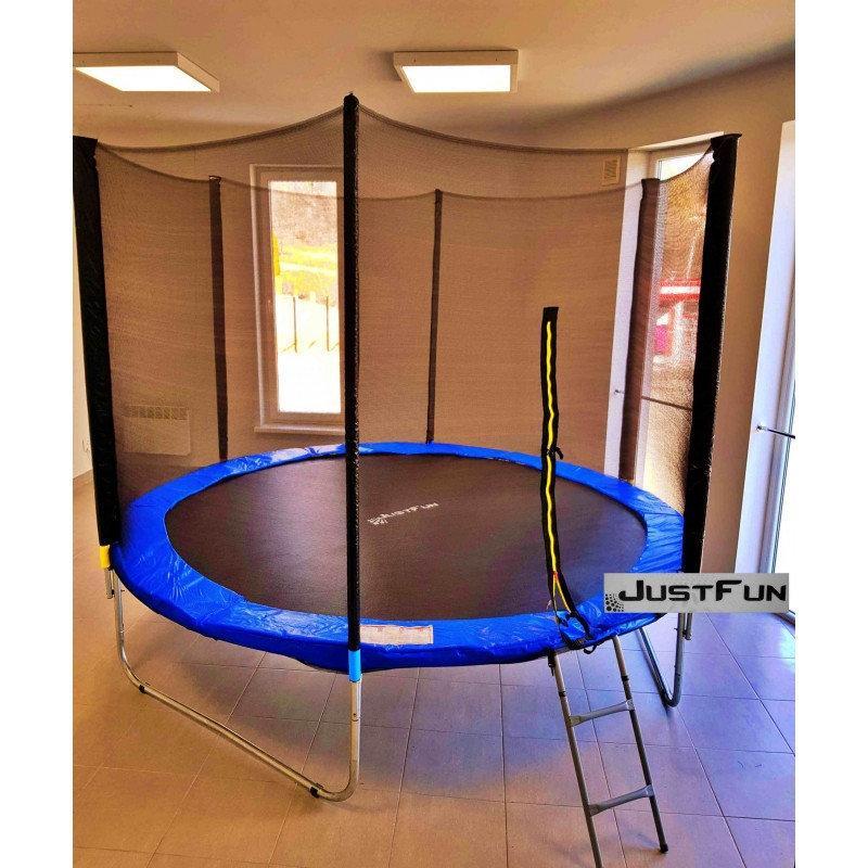 Батут Just Fun 312 см с сеткой и лестницей синий