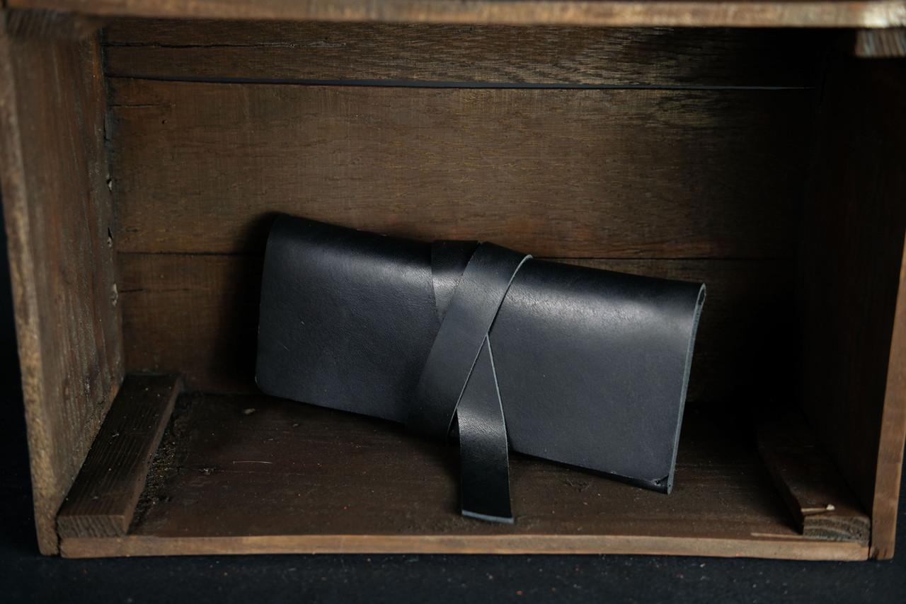 Клатч с закруткой  Кожа Итальянский краст цвет Черный