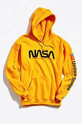 Толстовка жёлтая NASA USA   худи насса   кенгуру наса
