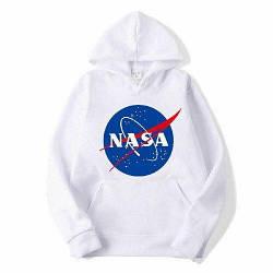 Толстовка белая NASA Logo   худи насса   кенгуру наса