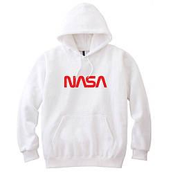 Толстовка белая NASA   худи насса   кенгуру наса