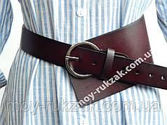 Ремень  женский кожаный асимметричный, бордовый ширина 100 мм*40 мм. 930477