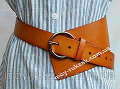 Ремень  женский кожаный асимметричный, коричневый ширина 100 мм*40 мм. 930476