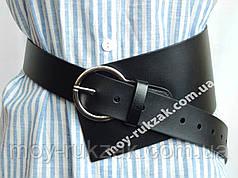 Ремень  женский кожаный асимметричный, черный ширина 100 мм*40 мм. 930475
