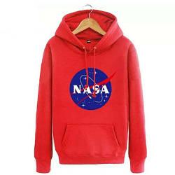 Толстовка красная NASA Logo   худи насса   кенгуру наса