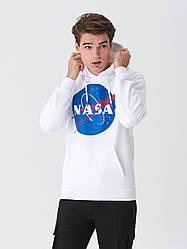 Толстовка белая NASA Logo CL   худи насса   кенгуру наса