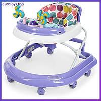 Детские ходунки ME 1056 DOLPHIN Violet с игрушками сиреневые Дитячі ходулі з музикою Бемби Bambi