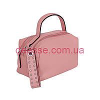 Сумка-коробочка с нарядной ручкой  из гладкой  розовой кожи DE Esse, фото 1