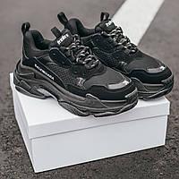 Мужские кроссовки Balenciaga Triple S All Black (Баленсиага Трипл С), черные, IN-178