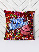 Декоративная подушка с 3D принтом, сублимация ReD День рождения кексик