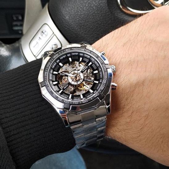 Мужские автоматические механические часы Winner TM340 Silver-Black-Silver