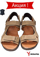 Мужские кожаные сандали Multi-Shoes, цвет оливковый, на липучках со съемными задниками