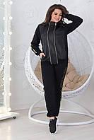 Стильный демисезонный костюм спортивного стиля из трикотажа двунитка и стеганной эко-кожи