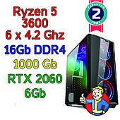 Игровой компьютер / ПК  Ryzen 5 3600 (6 x 4.2GHz) \ B450 \ 16Gb DDR4 \ 1 Tb \ RTX 2060 6Gb \ 500W