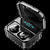 Беспроводные сенсорные наушники гарнитура в кейсе с павербанком с микрофоном Amoi X7 Bluetooth Черные - Фото