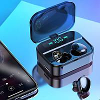 Беспроводные сенсорные наушники гарнитура в кейсе с павербанком с микрофоном Amoi X7 Bluetooth Черные