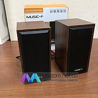 Колонки деревянные проводные настольные Music-F D-09 2.0 для компьютера, ноутбука, телефона, планшета и пк, фото 1