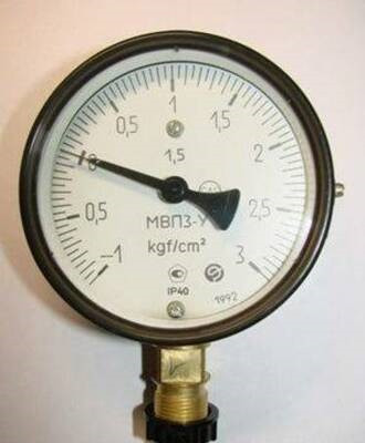 Мановакуумметр МВП3-У -1...5 кгс (-0.1 МПа...0.5 МПа)