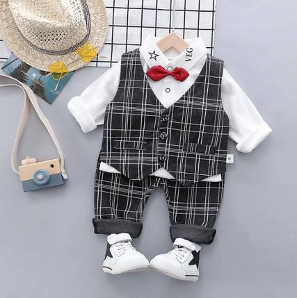 Нарядный костюм тройка на мальчика  джентельмен с жилеткой серый 3 -4 года, фото 2