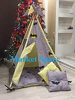 """Вигвам, детская игровая палатка с ковриком и подушками. Расцветка """"Batman"""""""