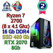 Игровой компьютер / ПК  ( AMD Ryzen 7 2700  (8 x 4.1GHz) / B450 / 16Gb DDR4 /SSD 480 Gb / RTX 2070 8Gb / 700W)