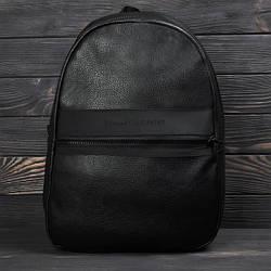 Городской повседневный кожаный рюкзак томи Черный ViPvse