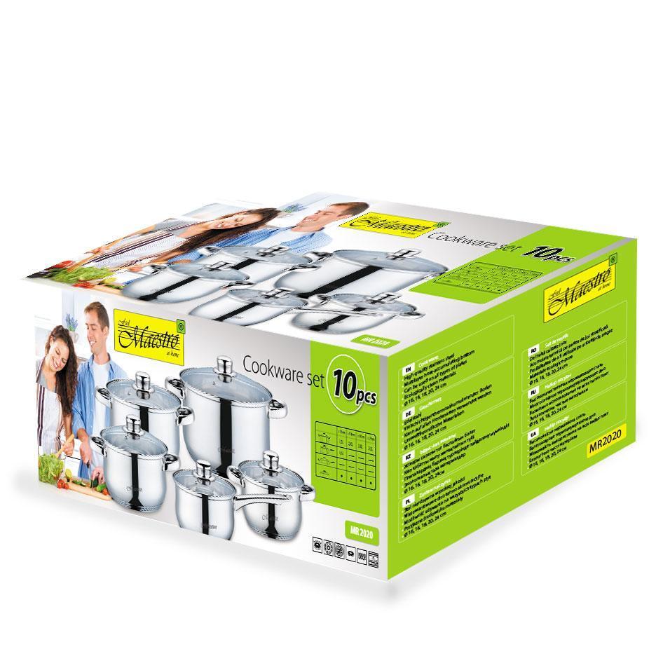 Набор посуды Maestro MR-2020-10, 10 предметов, нержавеющая сталь, все типы плит | кастрюли Маэстро, Маестро