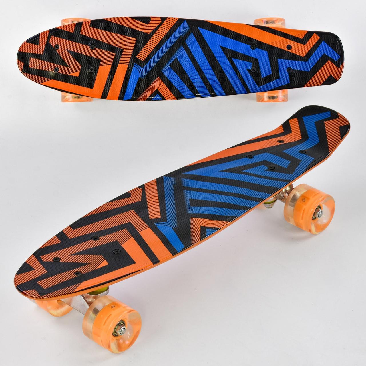 """Скейт Пенни борд (Penny Board) 22"""" Best Board колёса PU, светятся, d=6 см, доска=55 см"""