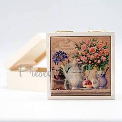 Шкатулка для бижутерии «Розы» , 5,5х11,5х11,5 см. (263-2105W)